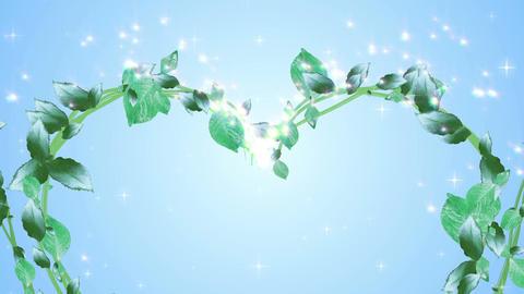 wreath of leaf, heart shaped, Blue background Animation