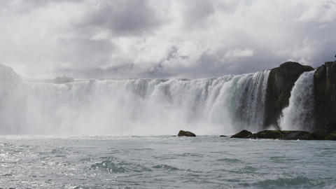 Iceland Landscape Spectacular Godafoss Waterfall Icelandic Tourist Destination Footage