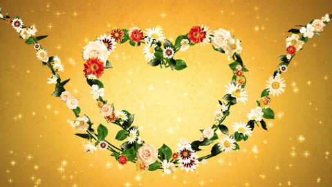 Heart flower goldback hd Animation