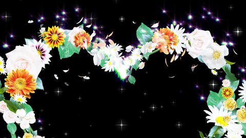 Flower wreath, heart shaped, black background CG動画