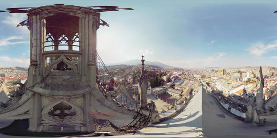 360Vr Landscape Of Quito Ecuador From Tower Of Basilica Del Voto Nacional Footage