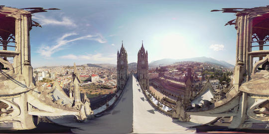 360Vr Clock Towers Of Basilica Del Voto Nacional And Landscape Of Quito Ecuador Footage