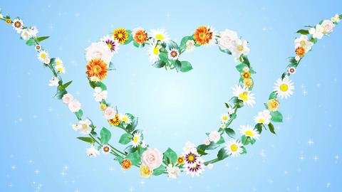 Heart flower skyblueback CG動画素材