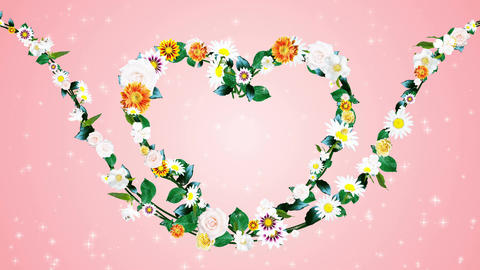 Flower wreath, heart shaped, pink background 1 Animation