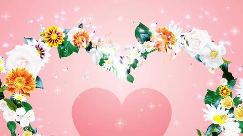 花のリース_ハート_ピンク背景2 CG動画