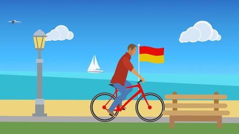 Vector Man Cycling at the Beach Animation