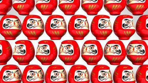 Spinning Red Daruma Dolls On White Background CG動画
