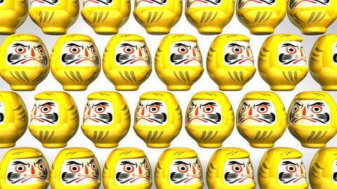 Spinning Yellow Daruma Dolls On White Background CG動画