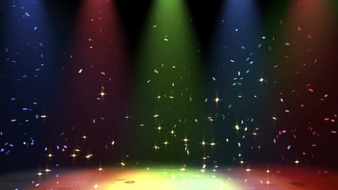 stage confetti, color spotlight CG動画素材