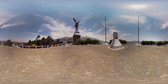 360Vr Panecillo Statue In Quito Ecuador Daytime Footage
