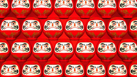 Stacking Red Lucky Daruma Dolls On Red Background Animation