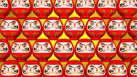 Stacking Red Lucky Daruma Dolls On Yellow Background Animation