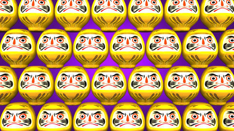 Stacking Yellow Lucky Daruma Dolls On Purple Background Animation
