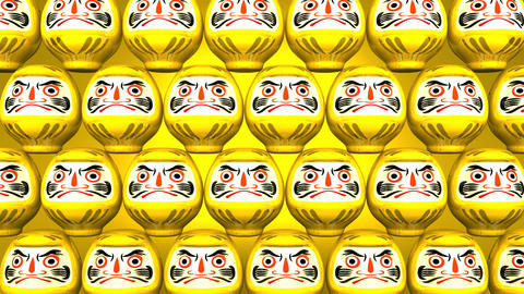 Stacking Yellow Lucky Daruma Dolls On Yellow Background Animation