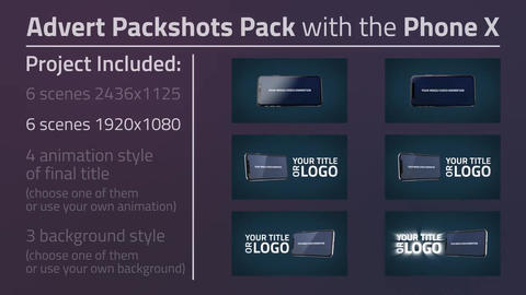 Advert Packshots Pack with the Phone X After Effects Template