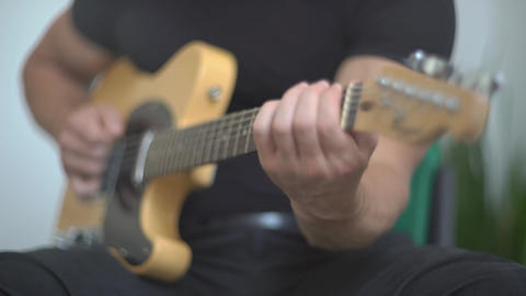 4K Musician Playing Electric Guitar Live Action