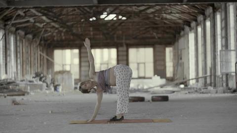 4K Beautiful Pregnant Woman Doing Prenatal Yoga Footage