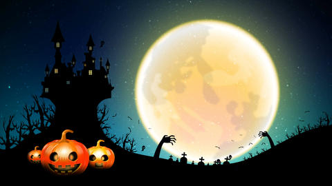 4K Dark abstract background Halloween Animation moving Full moon with ghost bat Filmmaterial