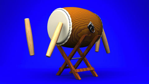 Asian Drum And Sticks On Blue White Background Animation