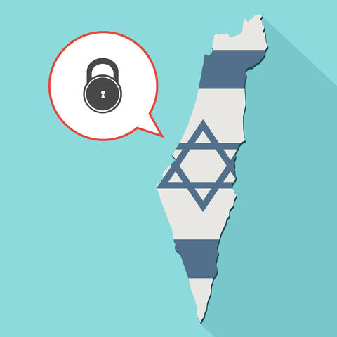 Illustration of a long shadow Israel map with its flag and a comic balloon Fotografía