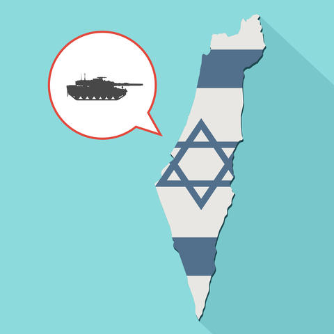 Illustration of a long shadow Israel map with its flag and a comic balloon フォト