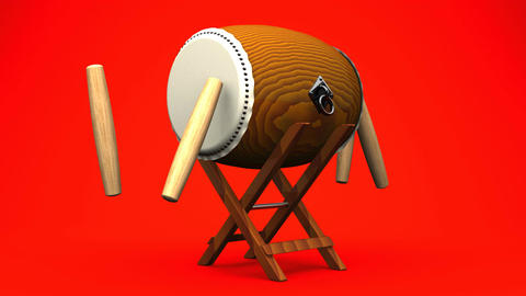 Asian Drum And Sticks On Red White Background Animation