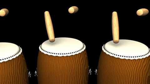 Loopable Asian Drums On Black Background Animation