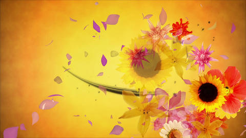 Flowers blooming on the black line 2, golden background CG動画