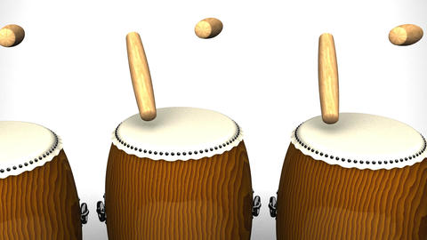 Loopable Asian Drums On White Background Animation