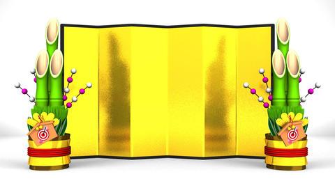 Big Kadomatsu And Golden Screen On White Background CG動画