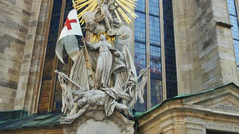 death janissary sculpture, vienna siege memorial, austria, timelapse, 4k Footage