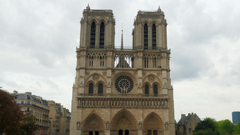 notre dame de paris cathedral, france, timelapse, zoom out, 4k Footage