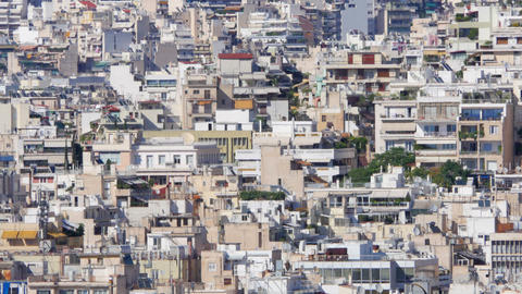 Apartments of Athens, Greece, Timelapse, zoom out, 4k Footage