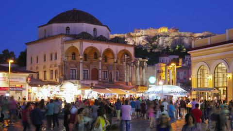 Monastiraki Square, Athens, Greece, Timelapse, zoom out, 4k Footage