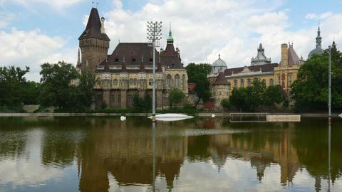vajdahunyad castle, budapest, hungary, timelapse, 4k Footage