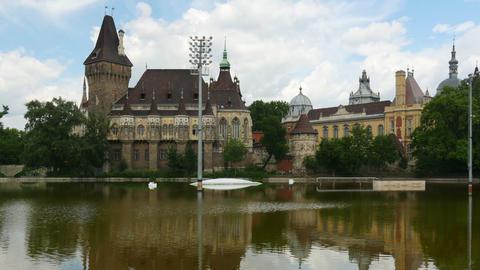 vajdahunyad castle, budapest, hungary, timelapse, zoom out, 4k Footage