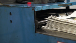 Industrial Offset Press Newspapers Stacking Handheld Footage