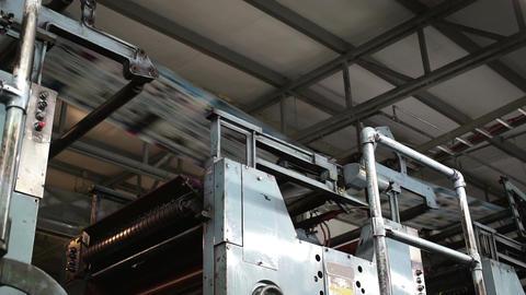 Industrial Offset Press Newspaper Running Overhead stock footage