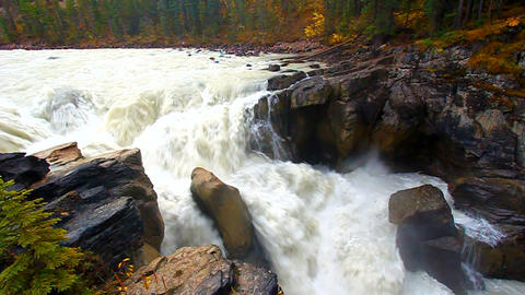 Sunwapta Falls Landscape Canada Footage