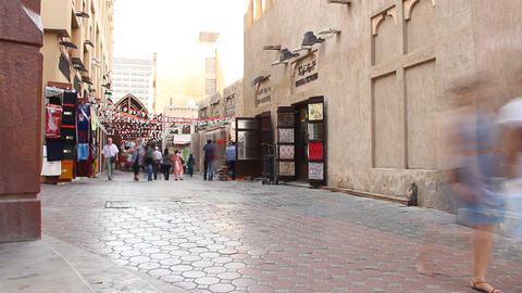 Arabic town pedestrian street, buildings passage near old souk, time lapse Footage
