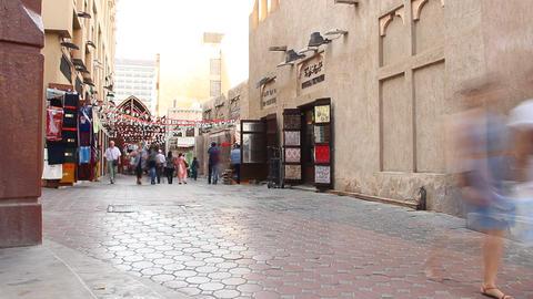 Arabic town pedestrian street, buildings passage near old souk, time lapse Footage