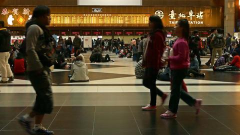 Ticket lobby at Taipei Train Station Footage