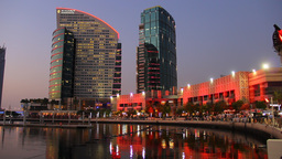Dubai Festival City water front promenade, dusk to darkness time lapse Footage