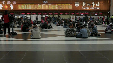 Taipei Train Station ticket lobby, slow motion Footage