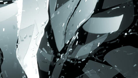 Glass shattered and cracked in slow motion. Alpha matte Animation