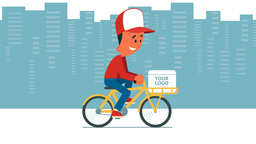 Delivery service using bicycle Animation