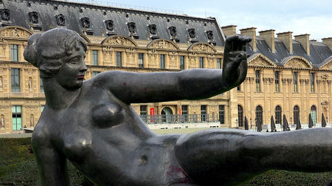 The sculpture of a naked girl in Paris Footage