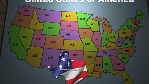 Texas pull out from USA states abbreviations map Footage