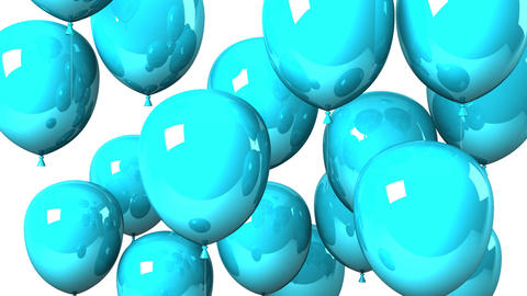 Blue Balloons On White Background Animation