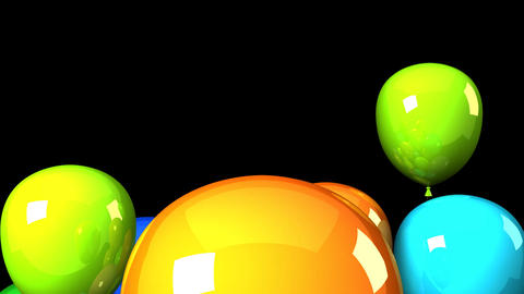 Colorful Balloons On Black Background, CG動画素材